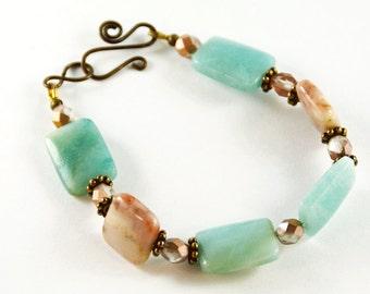 Rustic Boho Chic Bracelet Gypsy Bracelet Tribal Jewelry Monaco Agate Amazonite Gemstones