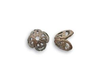 6 pcs Vintaj Natural Brass 7mm  Filigree Bead Cap -  Natural Brass Jewelry Findings Craft Supplies Tools