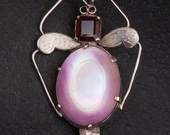 1920s Silver and Abalone moth brooch in lilac