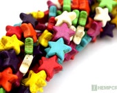 32pc Star Beads, 15mm Colorful Stone Howlite Pointed Star Beads, Stone Beads