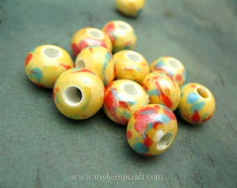 Porcelain Beads, 12pc Yellow Pearlized Large Hole Clay Beads, 9x12mm