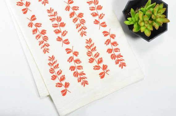 Tea Towel - Screen Printed - Coral Bluebonnets on White