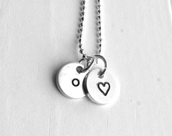 Tiny Letter o Necklace, Sterling Silver Initial Necklace, Heart Necklace, Charm Necklace, Initial Jewelry, Personalized Jewelry