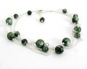 Seraphinite Bracelet, Seraphinite Jewelry, Sterling Silver, Russian Seraphinite, Pretty Green and Silver Bracelet, Triple Strand Bracelet
