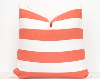 Coral and White Stripe Decorative Designer Pillow Cover accent throw cushion striped beach nautical modern preppy classic pink peach salmon