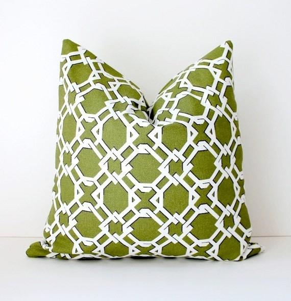 Lattice Moss Green decorative Designer Pillow by WhitlockandCo