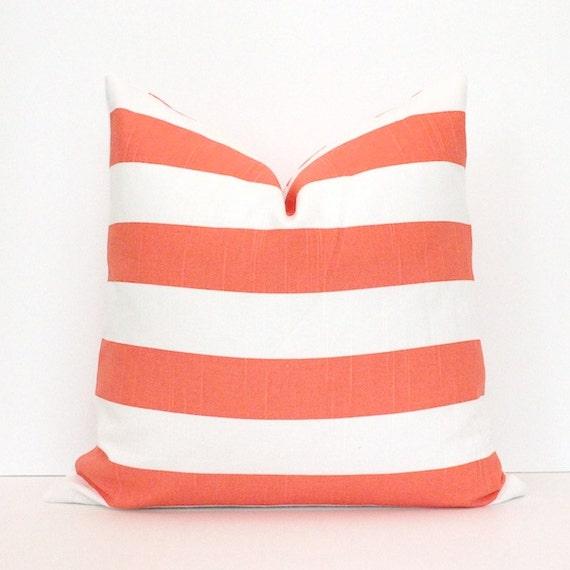 Coral and White Stripe Decorative Designer Pillow Cover accent