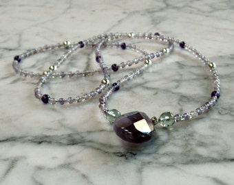 Amethyst and Rainbow Fluorite Natural Stone and Crystal OOAK Crown Chakra Healing Necklace