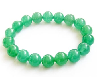 10mm Green Aventurine Dongling Stone Round Beads Stretchy Charm Beaded Bracelet  T0973