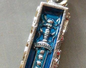 Inside Enamel Alloy Metal Carved Dagger Knife Rectangle Pendant Necklace 35mm x 15mm  T1557