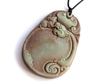 Mythical Dragon Head Rat Amulet Pendant Two Layer Natural Stone Bead 53mm x 38mm  ZP041