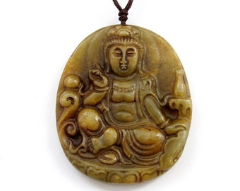 Natural Xiuyan Stone Amulet Pendant Buddhist Goddess Of Merch Kwanyin 50mm x 43mm  T3116