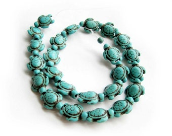 One Full Strand Imitation Turquoise Longevity Turtle Bead DIY Jewelry Finding 18mm x 14mm  ja485