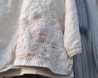 CUSTOM LISTING Kantha/Japanese Boro/Sashiko/Contemporary Embroidery on a Linen Tunic orTextile that you Provide