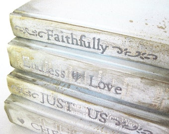 Wedding Decor, Silver Wedding Books, Beach Wedding Decor, Painted Wedding Books, Custom Wedding Books, White and Silver, Painted Books