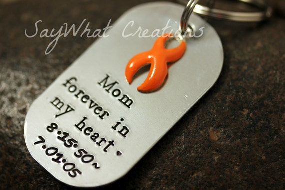"""Remembrance Key Chain with any color Awareness Ribbon """"forever in my heart"""""""