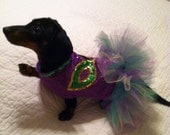 Small Dog Mardi Gras Tutu Dress Comes in Toy, Small and Medium Sizes
