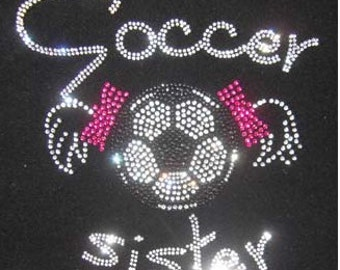 Soccer Sister Rhinestone Bling Tank or tee- Black, White or Hot Pink