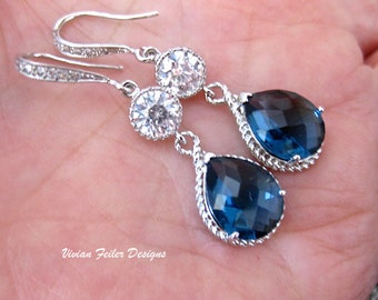 Blue Wedding Jewelry Sapphire Blue Bridal Earrings Cubic Zirconia Bridesmaid Gift Bridal Party Bridesmaid Earrings Maid of Honor