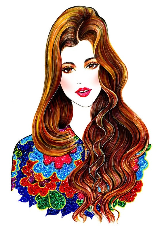 items similar to fashion illustration ingrid on etsy