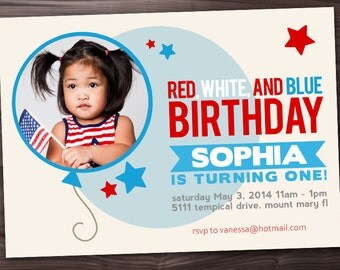 4th of July Birthday Party Invitation - Red, White, and Blue Birthday Invitation - 4th of July Birthday Invitation with Picture