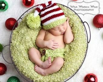Baby Hat, Newborn Hat, Elf Hat, Baby Photo, Newborn Photo Prop, Christmas Baby Beanie, Diapercover, Red, Green, and White Baby Photo Prop