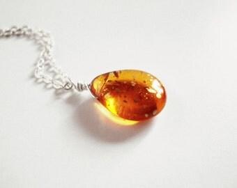 Flare - orange glass teardrop necklace