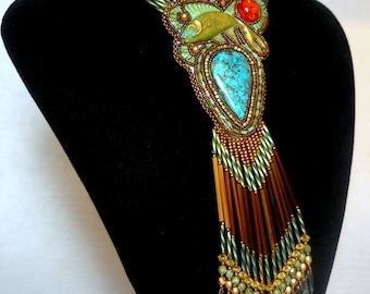 Bead Embroidery Necklace Azurite Teal  Blue Gold - Bead Embroidered Chrysocolla Turquoise Picasso Amber