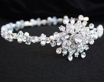 RHINESTONE  SNOWFLAKE  HEADBAND with Swarovski Crystals and Pearls, Winter Wedding, Wedding Headband, Hair Accessory