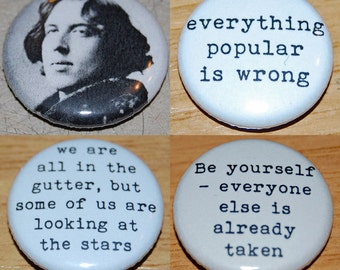 Oscar Wilde Button Badge 25mm / 1 inch Writer/Poet