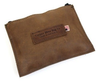 Medium Leather Zip Pouch - Brown