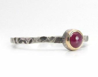 Silver Ruby Ring, Mixed Metal Jewelry, Size 6