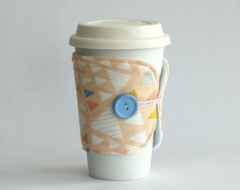 Insulated Coffee Cozy - Geometric Triangles, Peach, White, Yellow, Blue - Ready to Ship