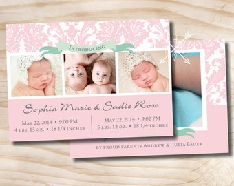 Twins Birth Announcement Baby Girl Baby Boy - Digital design file