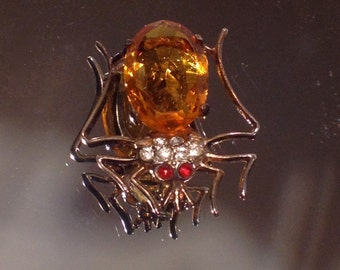 Spooky Spider Brooch Sterling Vintage Goth Jewelry