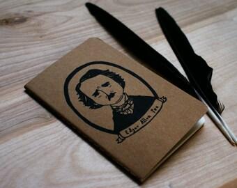 Edgar Allan Poe Mystery Macabre Halloween American Author Novelist Poet Pocket Moleskine Journal Notebook Gocco Screenprint Back to School