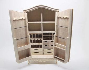 Miniature dollhouse unfinished wardrobe for haberdashery in 1:12 scale