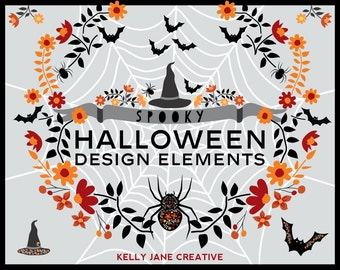 Halloween Clipart of Spiders, Bats & Witches' Hats - Instant Download includes vector files