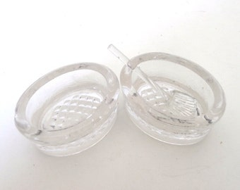 European Oval Glass Salt Pepper Table Servers with Spoon