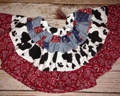 Cowgirl Twirl Skirt- Rodeo Skirt- Rodeo Outfit- Twirl Skirt- Cow Print Skirt- Bandana Skirt- Rodeo Birthday Skirt