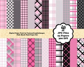 Plaid Digital Paper Tartan Check Pink Black The Plaid Series 24 Plaid Papers Photography Background DIY Scrapbook Printable Instant Download