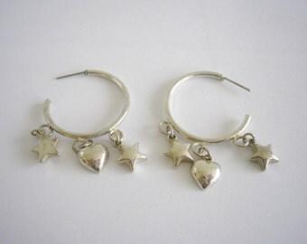 Silver tone metal hoop earrings
