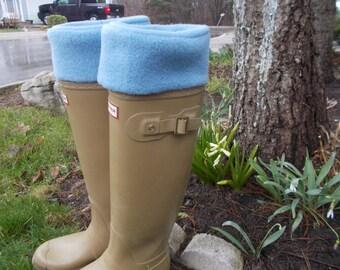 Fleece Rain Boot Liner, Solid Blue, Outdoor Fashion, Wellington Sock, Rainy Days, Fresh Garden Wear, Fleece Sock, Classic, Med/Lrg 9-11 size