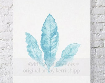 Sea Fan in French Blue II 11x14 Print - Sea Coral Art - Blue Coral Watercolor - Sea Life Wall Art - Nautical Wall Art