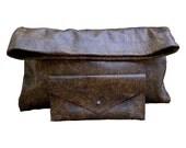 SALE Distressed Leather Wallet, Small envelope clutch wallet, Dark Brown & Deep Golden Tan, Matching clutch