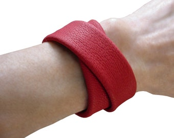 Double Wrap Bracelet - Leather Bracelet - Womens leather Cuff - Soft Leather Cuff - Tomato Red - Goatskin Leather - RARE color