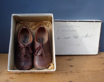 vintage FRENCH pair of children leather shoes 1950s