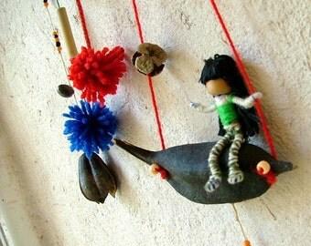 Baby crib mobile hanging - children mobile -nursery gift - waldorf inspired natural home decor