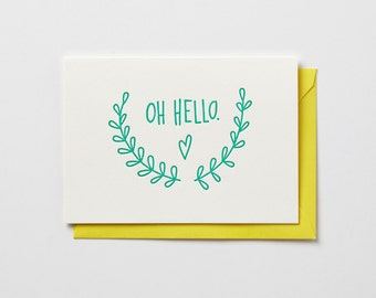Oh Hello, in neon pink or neon green, folded letterpress note card