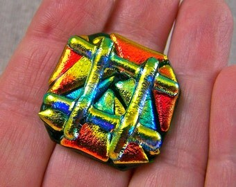 """Cocktail RING Dichroic Glass Adjustable - Emerald Green Gold Copper Orange Chunky Layered Shards BIG Large 1"""" Fused Glass"""